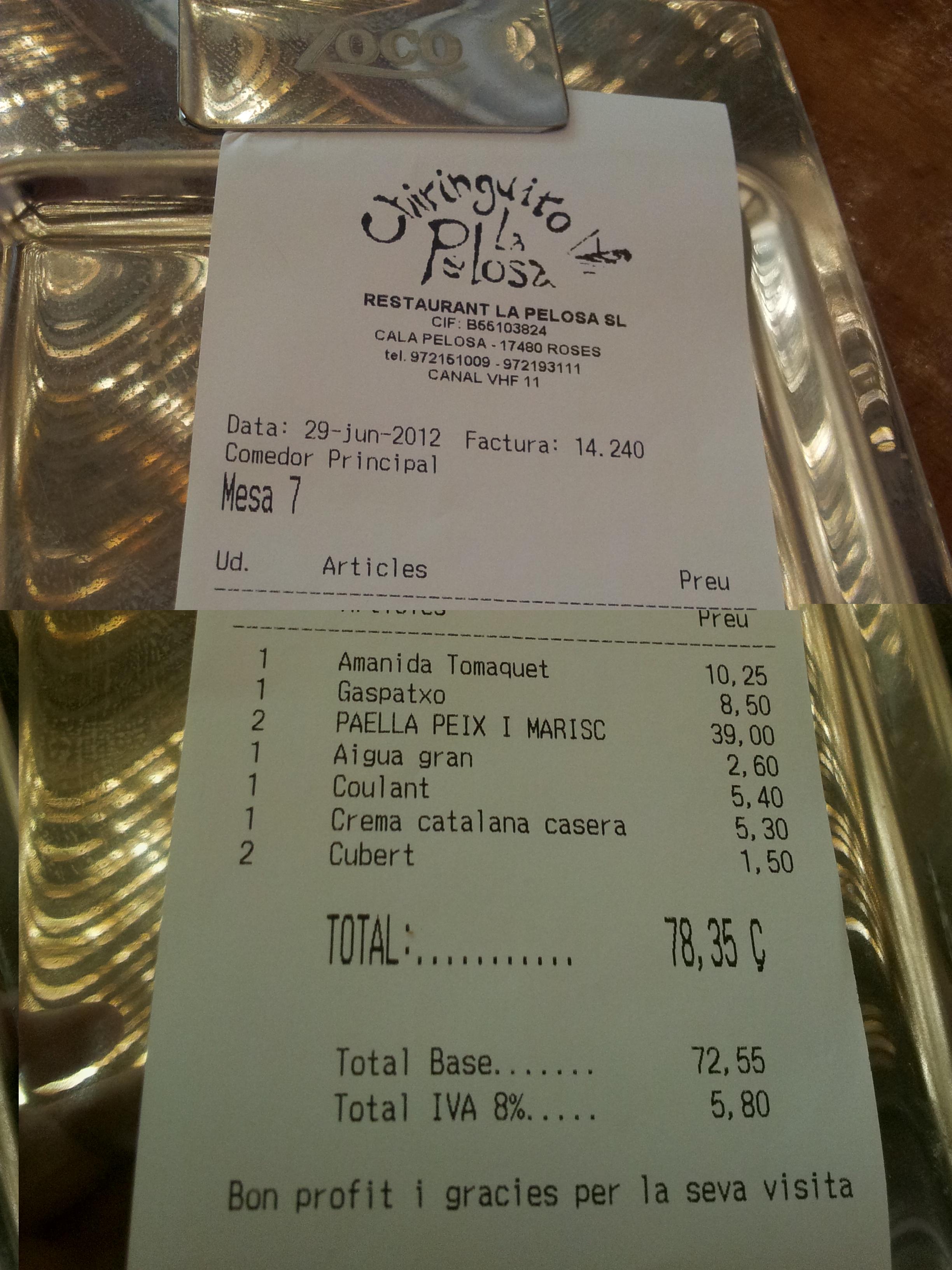 Crítica: Restaurante Chiringuito La Pelosa. Cala Pelosa . Roses, Girona